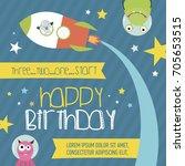 happy birthday invitation or... | Shutterstock .eps vector #705653515