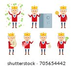 set of old king characters... | Shutterstock .eps vector #705654442