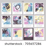 creative calendar 2018. | Shutterstock .eps vector #705657286