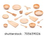 collection of new wooden... | Shutterstock . vector #705659026