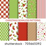 christmas seamless patterns... | Shutterstock .eps vector #705665392