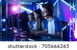 team of teenage gamers play in... | Shutterstock . vector #705666265
