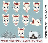merry christmas and happy new... | Shutterstock .eps vector #705666895