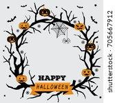 happy halloween wreath design... | Shutterstock .eps vector #705667912
