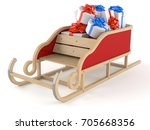 gifts with santa sleigh... | Shutterstock . vector #705668356