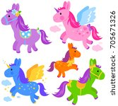 cute colorful ponies and... | Shutterstock . vector #705671326