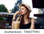 cafe  summer veranda  coffee... | Shutterstock . vector #705677092