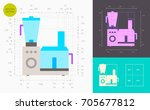 food processor color icon ... | Shutterstock .eps vector #705677812