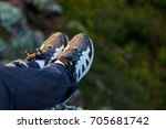 hiking boot closeup on mountain ... | Shutterstock . vector #705681742