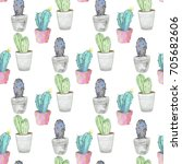 seamless pattern with cactus... | Shutterstock . vector #705682606