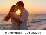 romantic couple kissing on the... | Shutterstock . vector #705683206