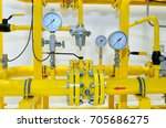 pressure meters on natural gas... | Shutterstock . vector #705686275