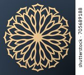 laser cutting mandala. golden... | Shutterstock .eps vector #705689188