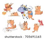 set cartoon illustration. a... | Shutterstock . vector #705691165