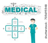 physician with medical icons of ... | Shutterstock .eps vector #705695548