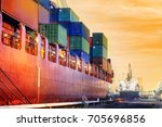 transportation port shipyard... | Shutterstock . vector #705696856