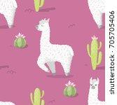 seamless pattern with alpaca  ... | Shutterstock .eps vector #705705406