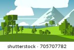 rural cartoon landscape. | Shutterstock . vector #705707782