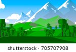 rural cartoon landscape. | Shutterstock . vector #705707908