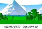 rural cartoon landscape. | Shutterstock . vector #705709552