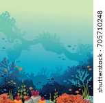 colorful coral reef with... | Shutterstock .eps vector #705710248