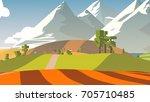 rural cartoon landscape. | Shutterstock . vector #705710485