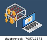 bitcoin workstation. graphic... | Shutterstock .eps vector #705713578
