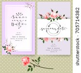 save the date card  wedding... | Shutterstock .eps vector #705714382
