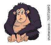 cute ape cartoon on white... | Shutterstock .eps vector #705720892