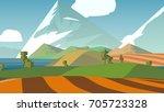 farmland rural cartoon... | Shutterstock . vector #705723328