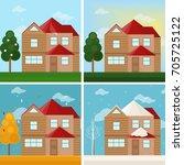 architecture facade building... | Shutterstock .eps vector #705725122