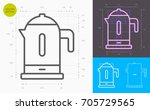 electric kettle line icon ... | Shutterstock .eps vector #705729565