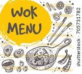 wok menu concept design. asian...   Shutterstock .eps vector #705731782