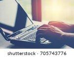 close up of man hands working...   Shutterstock . vector #705743776