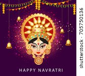 illustration of happy navratri... | Shutterstock .eps vector #705750136