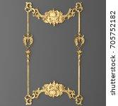 3d rendering gold stucco frame | Shutterstock . vector #705752182
