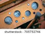 Dashboard Of Old Retro Tractor...