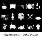 white restaurant icons set   Shutterstock .eps vector #705754282
