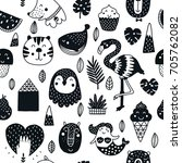 vector seamless pattern with... | Shutterstock .eps vector #705762082