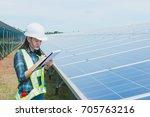 women engineers checking... | Shutterstock . vector #705763216