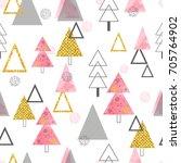 seamless christmas trees... | Shutterstock .eps vector #705764902