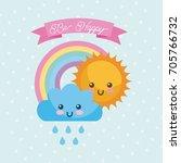 be happy cartoon | Shutterstock .eps vector #705766732