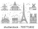 architectural landmarks of paris | Shutterstock .eps vector #705771832