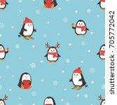 cute cartoon penguins seamless... | Shutterstock .eps vector #705772042