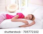 beautiful girl sleeping with... | Shutterstock . vector #705772102