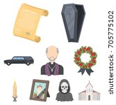 funeral ceremony  cemetery ... | Shutterstock .eps vector #705775102