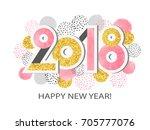 happy new year 2018 vector...   Shutterstock .eps vector #705777076