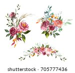 Stock photo set watercolor flowers hand painted floral illustration bouquet of flowers pink rose design 705777436