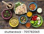 indian cooking. various...   Shutterstock . vector #705782065