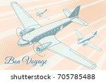 bon voyage aviation background. ... | Shutterstock .eps vector #705785488